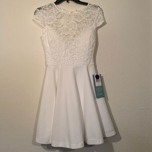 NWT! B. Smart white dress with lace top